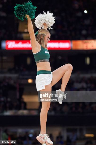 Michigan State Spartans cheerleaders perform during the State Farm Classic Champions Classic game between the Duke Blue Devils and the Michigan State...