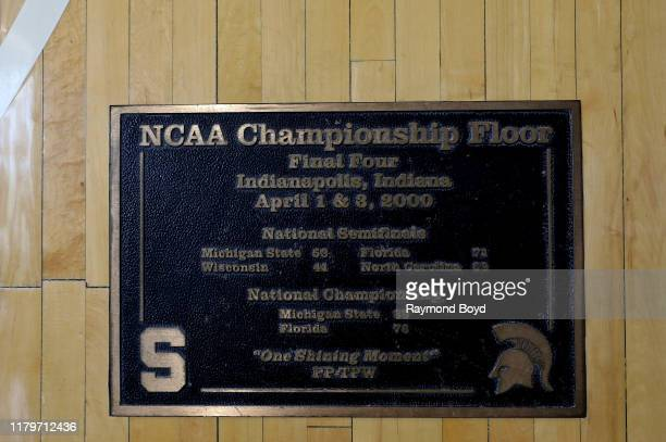 Michigan State Spartan's 'Final Four Championship' floor signage on the wall in the Tom Izzo 'Basketball Hall Of History' inside Gilbert Pavilion...