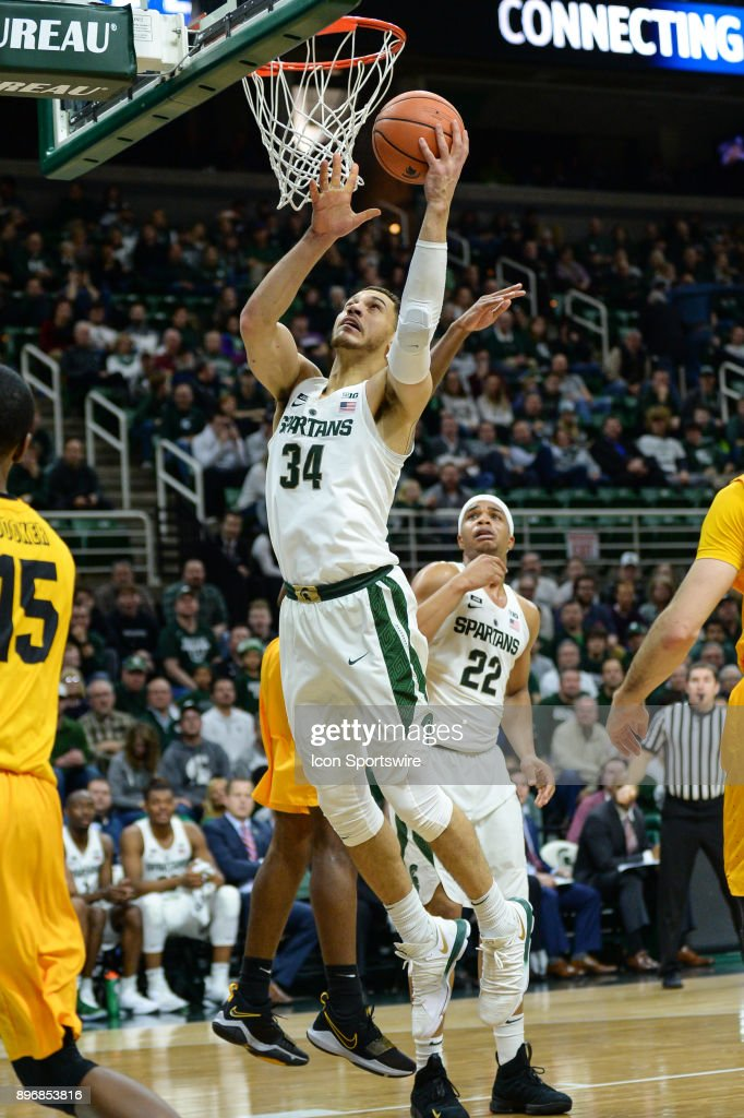 Michigan State Spartans Forward Gavin Schilling  Scores Underneath The Basket During A College