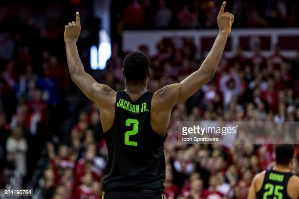 Michigan State Spartans forward Jaren Jackson Jr puts his fingers up in the air as Michigan State Spartans guard/forward Miles Bridges makes a free...