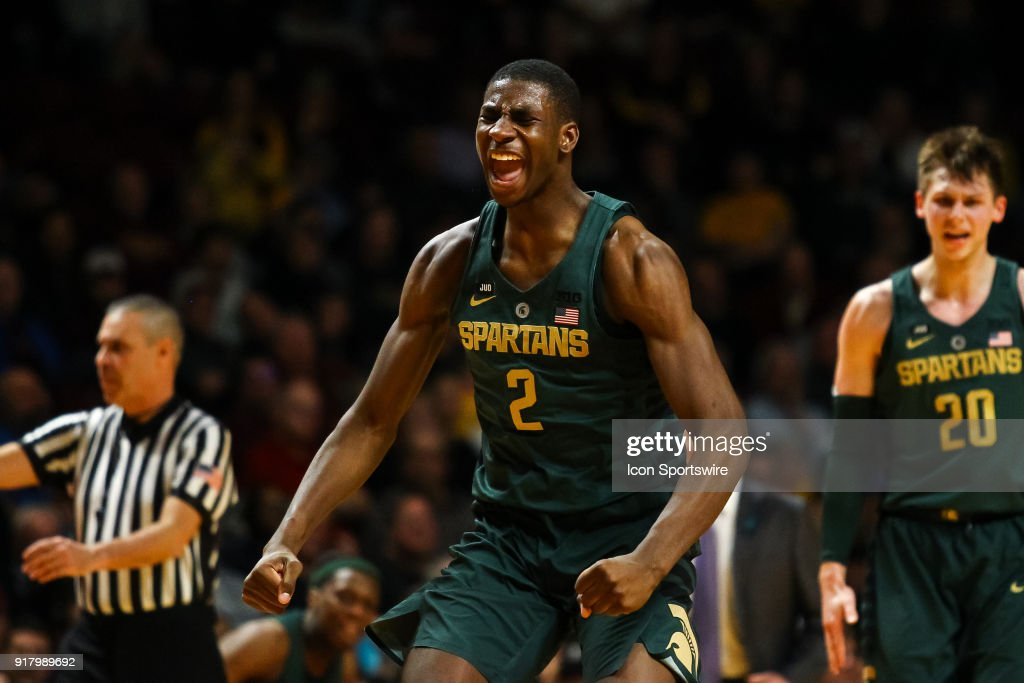 Michigan State Spartans forward Jaren Jackson Jr. (2) reacts after hitting a 3 point shot in the 2nd half during the Big Ten basketball game between the Michigan State Spartans and the Minnesota Golden Gophers on February 13, 2018 at Williams Arena in Minneapolis, Minnesota.