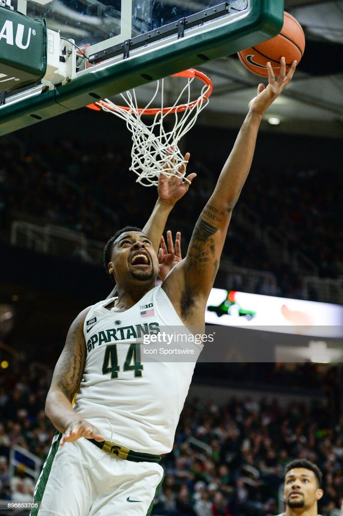 Michigan State Spartans Forward Nick Ward  Scores Down Low During A College Basketball