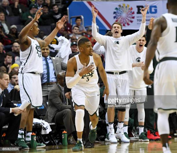 Michigan State Spartans guard Alvin Ellis III celebrates his three point basket against the Penn State Nittany Lions in the second round of the Big...