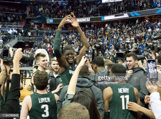 Michigan State Spartans guard Cassius Winston at the end of the Div 1 Men's championship elite eight game between Duke and Michigan State on March 31...