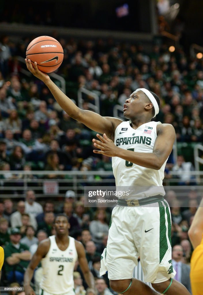 Michigan State Spartans Guard Cassius Winston  Scores On A Finger Roll During A