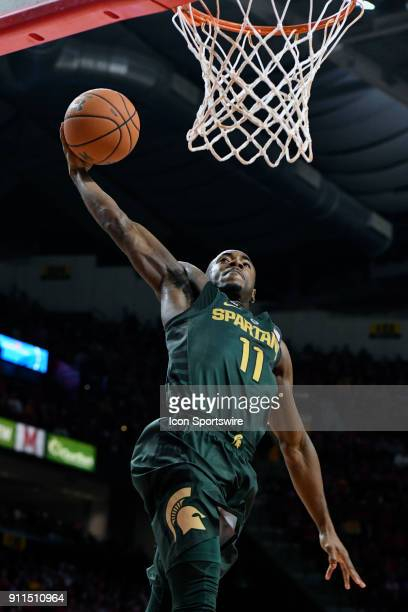 Michigan State Spartans guard Lourawls Nairn Jr dunks the ball on a fast break in the first half against the Maryland Terrapins on January 28 at...