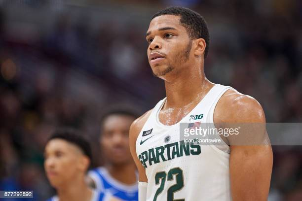 Michigan State Spartans guard Miles Bridges looks on during the State Farm Classic Champions Classic game between the Duke Blue Devils and the...