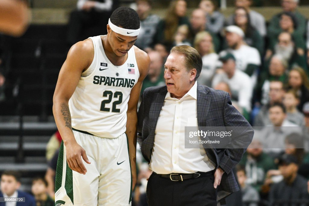 Michigan State Spartans head coach Tom Izzo chats with guard Miles Bridges (22) during a college basketball game between Michigan State and Cleveland State on December 29, 2017, at the Breslin Student Events Center in East Lansing, MI.