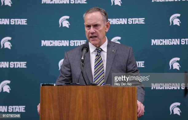 Michigan State Spartans head football coach Mark Dantonio speaks to the media at a press conference before the Michigan State Spartans and Wisconsin...