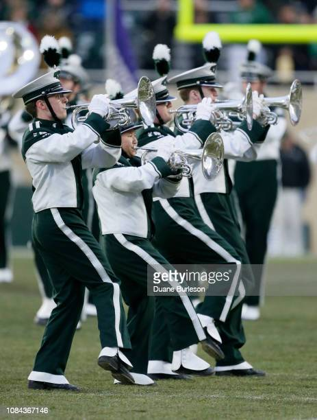 Michigan State Spartans Marching Band before a game against the Rutgers Scarlet Knights at Spartan Stadium on November 24 2018 in East Lansing...