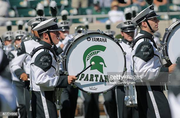 Michigan State Spartans Marching Band performs before the game against the Eastern Michigan Eagles on September 6 2008 at Spartan Stadium in East...