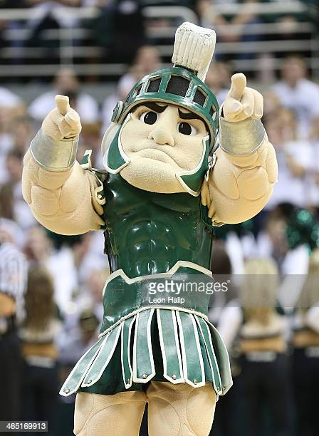 Michigan State Spartans mascot Sparty entertains the fans during the basketball game against the University of Michigan at Breslin Center on January...