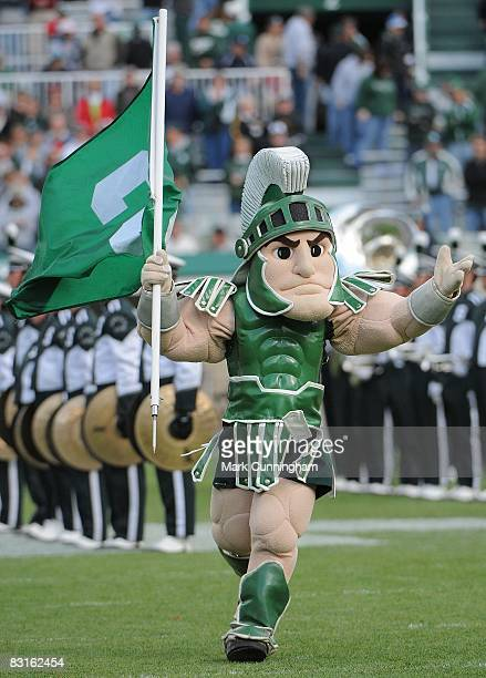 Michigan State Spartans mascot Sparty performs during the game against the Iowa Hawkeyes on October 4, 2008 at Spartan Stadium in East Lansing,...