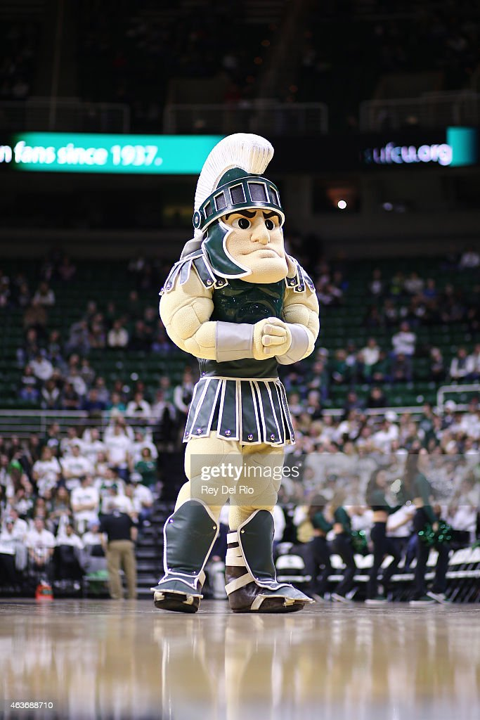 Michigan State Spartans mascot Sparty prior to the start of the Michigan State Spartans against Ohio State Buckeyes game at the Breslin Center on February 14, 2015 in East Lansing, Michigan.
