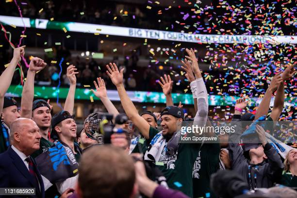 Michigan State Spartans players celebrate after Big Ten Tournament championship game between the Michigan State Spartans and the Michigan Wolverines...