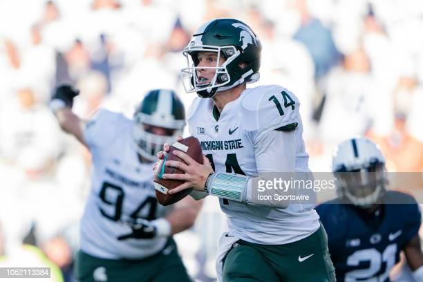 Michigan State Spartans Quarterback Brian Lewerke looks to throw a pass during the second quarter of the Michigan State Spartans versus the Penn...
