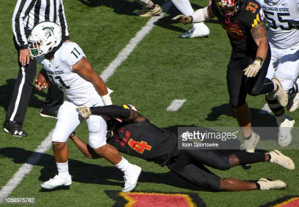 Michigan State Spartans running back Connor Heyward breaks the third quarter tackle of Maryland Terrapins defensive back Darnell Savage Jr on...