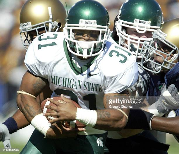 Michigan State University RB Jaren Hayes hits a hole in the offensive line and gets past University of Notre Dame defense during 2nd quarter action...