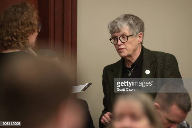 Michigan State University/President Lou Anna Simon attends the sentencing hearing for Larry Nassar who has been accused of molesting more than 100...