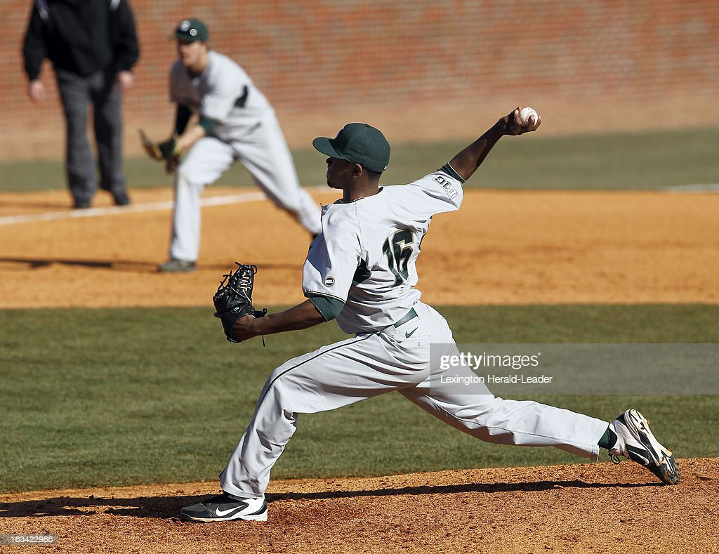 Michigan State's David Garner pitches in the seventh inning against Kentucky at Cliff Hagan Stadium in Lexington, Kentucky, on Saturday, March 9, 2013. Michigan State won, 6-1, as Garner worked into the ninth inning, allowing only one run on four hits.