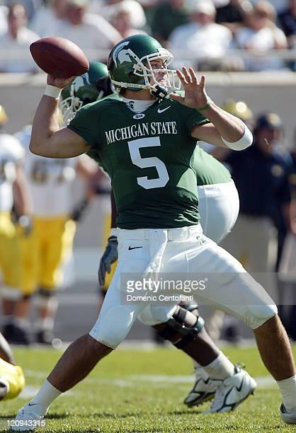 Michigan State's quarterback Drew Stanton drops back to bass versus Michigan Oct 1 in East Lansing Michigan