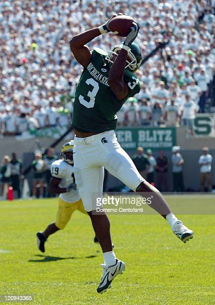Michigan State's senior wide receiver Kyle Brown catches a short pass for a first down early in the first quarter versus Michigan Oct 1 in East...