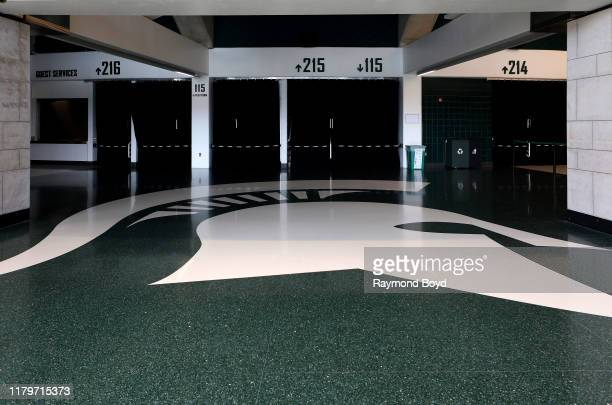 Michigan State's 'Spartan' logo on the floor of the Tom Izzo 'Basketball Hall Of History' inside Gilbert Pavilion home of the Michigan State Spartans...