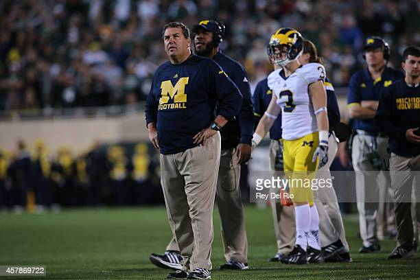 Michigan Wolverine head coach Brady Hoke in the fourth quarter against the Michigan State Spartans at Spartan Stadium on October 25 2014 in East...