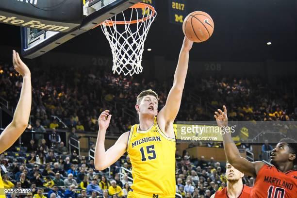 Michigan Wolverines center Jon Teske blocks this shot during the Michigan Wolverines game versus the Maryland Terrapins on Monday January 15 2018 at...