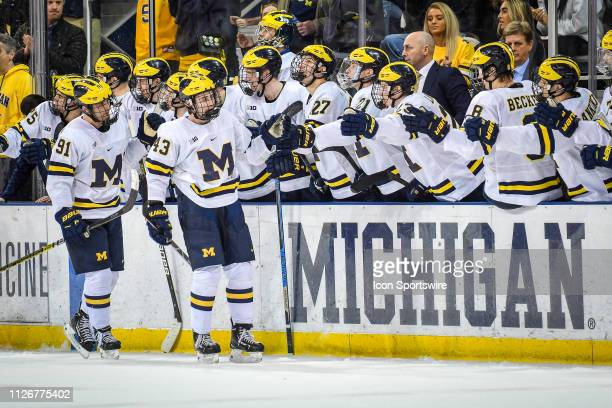 Michigan Wolverines defenseman Quinn Hughes celebrates his goal with teammates to tie the score at 11 during the second period of the Michigan...