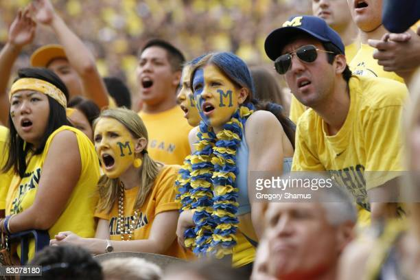 Michigan Wolverines fans look on during the game against the Wisconsin Badgers on September 27 2008 at Michigan Stadium in Ann Arbor Michigan