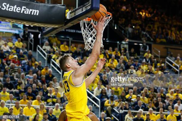 Michigan Wolverines forward Moritz Wagner goes in for a layup during a regular season Big 10 Conference basketball game between the Ohio State...