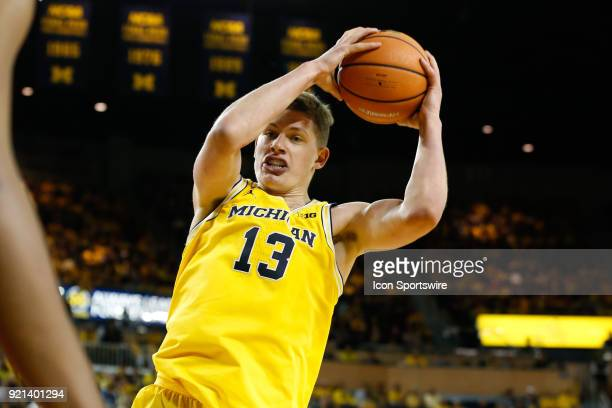Michigan Wolverines forward Moritz Wagner grabs a rebound during a regular season Big 10 Conference basketball game between the Ohio State Buckeyes...