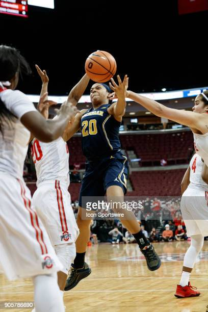 Michigan Wolverines guard Deja Church has a shot attempt blocked in a game between the Ohio State Buckeyes and the Michigan Wolverines on January 16...