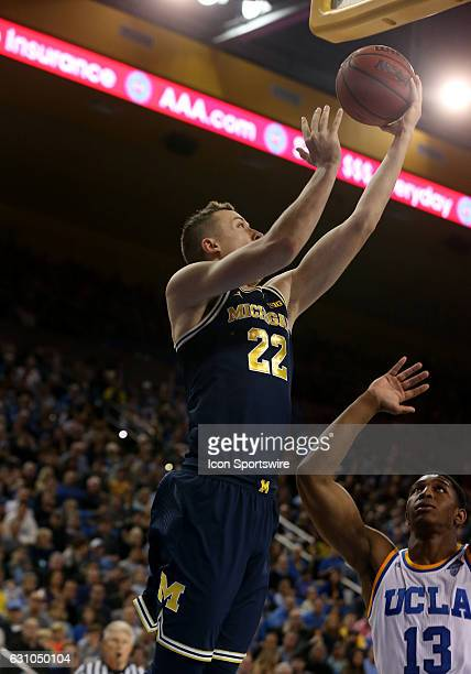 Michigan Wolverines guard Duncan Robinson goes up for the layup during the game against the UCLA Bruins on December 10 at the Pauley Pavilion in Los...