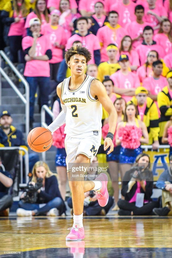 d8f1a5d082b Michigan Wolverines guard Jordan Poole dribbles up court during the ...