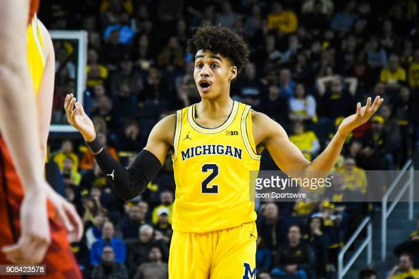 Michigan Wolverines guard Jordan Poole looks confused after being called for a foul during the Michigan Wolverines game versus the Maryland Terrapins...