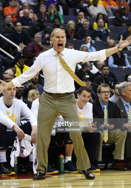Michigan Wolverines head coach John Beilein reacts in the second round of the Big 10 Tournament game between the Michigan Wolverines and the Illinois...