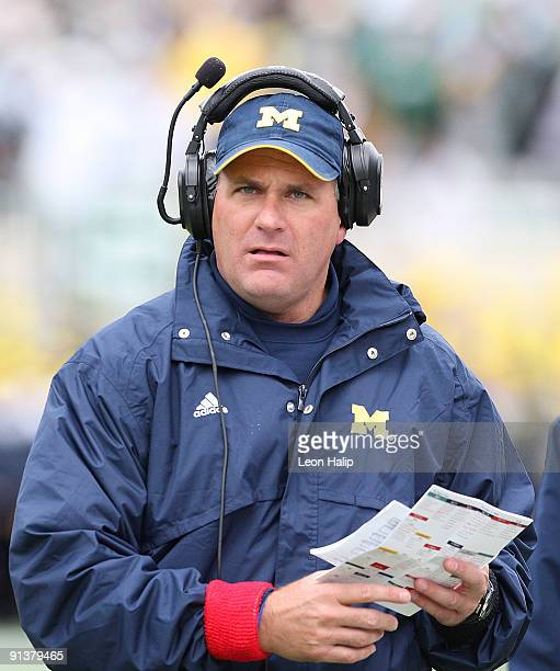 Michigan Wolverines head coach Rich Rodriguez during the game against the Michigan State Spartans at Spartan Stadium on October 3, 2009 in East...