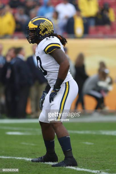 Michigan Wolverines linebacker Devin Bush before the 2018 Outback Bowl between the Michigan Wolverines and South Carolina Gamecocks on January 01...