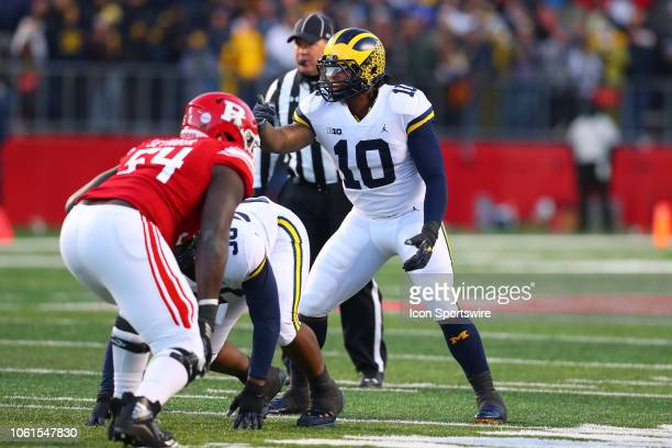 Michigan Wolverines linebacker Devin Bush during the BIG10 College Football Game between the Rutgers Scarlet Knights and the Michigan Wolverines on...