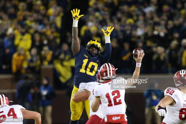 Michigan Wolverines linebacker Devin Bush jumps into the air to block a pass by Indiana Hoosiers quarterback Peyton Ramsey during a game between the...