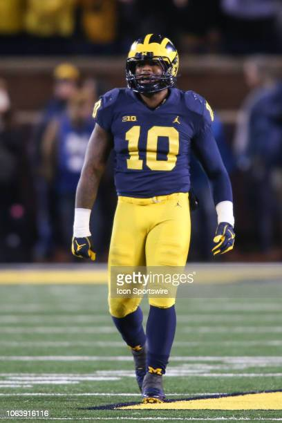 Michigan Wolverines linebacker Devin Bush looks on during a game between the Indiana Hoosiers and the Michigan Wolverines on November 17 2018 at...