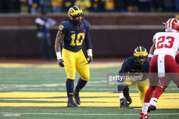 Michigan Wolverines linebacker Devin Bush plays defense during a game between the Indiana Hoosiers and the Michigan Wolverines on November 17 2018 at...