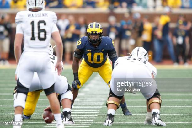 Michigan Wolverines linebacker Devin Bush waits for the play during game action between Western Michigan and Michigan on September 8 2018 at Michigan...