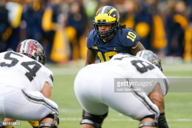 Michigan Wolverines linebacker Devin Bush waits for the play during game action between the Ohio State Buckeyes and the Michigan Wolverines on...