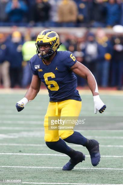 Michigan Wolverines linebacker Josh Uche plays defense during a regular season Big 10 Conference game between the Ohio State Buckeyes and the...