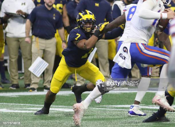 Michigan Wolverines linebacker Khaleke Hudson during the Peach Bowl between the Florida Gators and the Michigan Wolverines on December 29 2018 at...