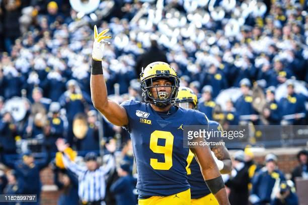 Michigan Wolverines wide receiver Donovan PeoplesJones celebrates his long touchdown reception during the Michigan Wolverines versus Michigan State...
