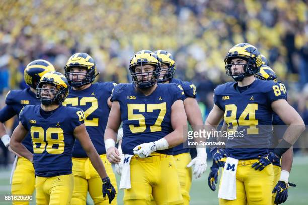 Michigan Wolverines wide receiver Grant Perry Michigan Wolverines offensive lineman Patrick Kugler and Michigan Wolverines tight end Sean McKeon...